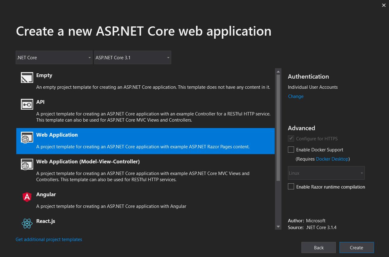 Choose ASP.NET Core project template