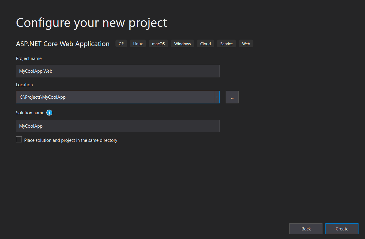 Configure new project dialog in Visual Studio