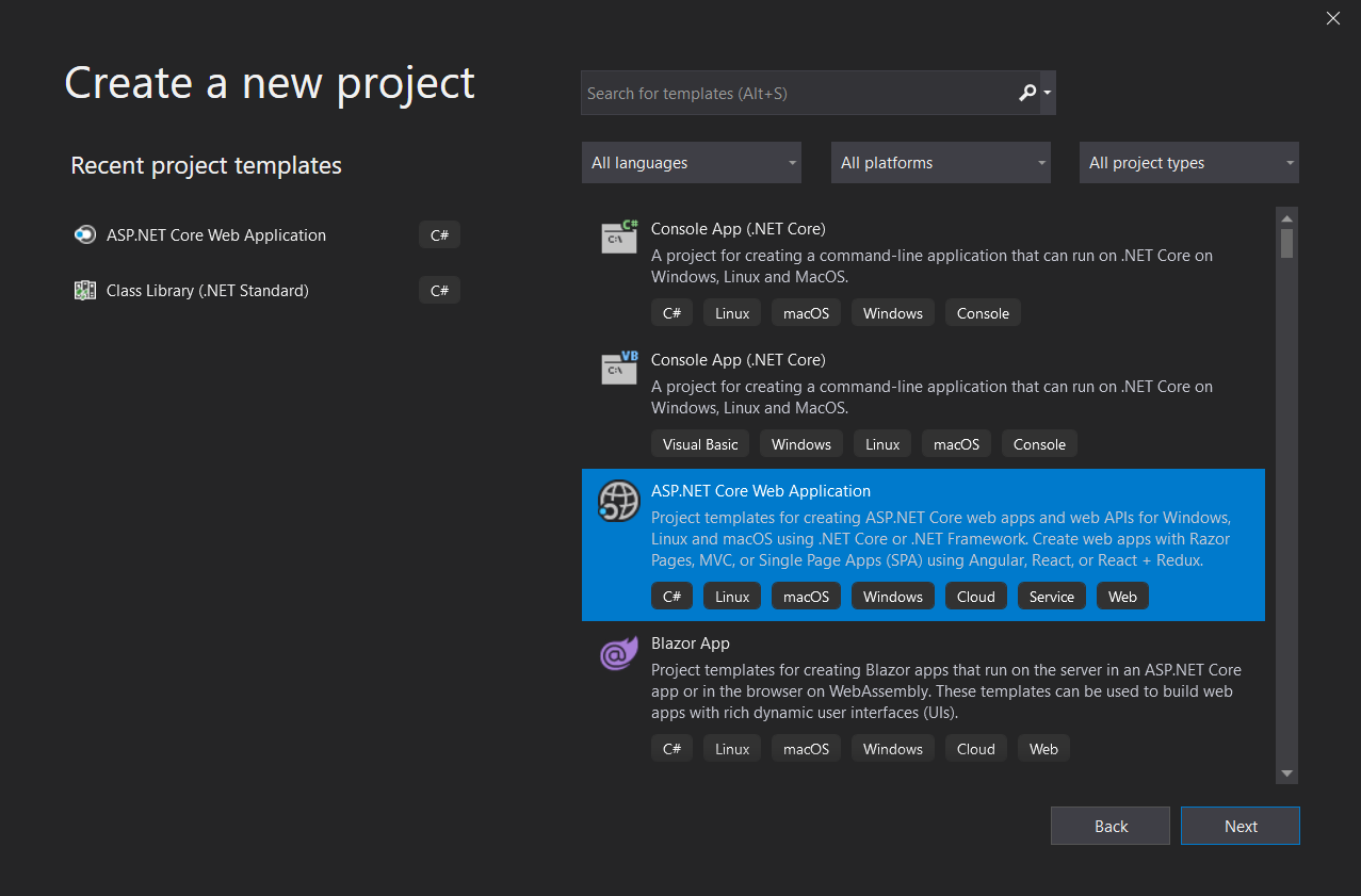 Create new project dialog in Visual Studio