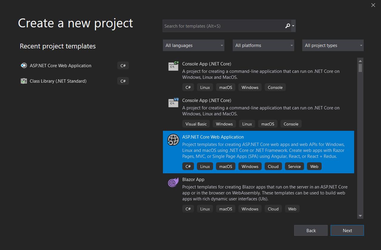 Create new project dialog in Visual Studio